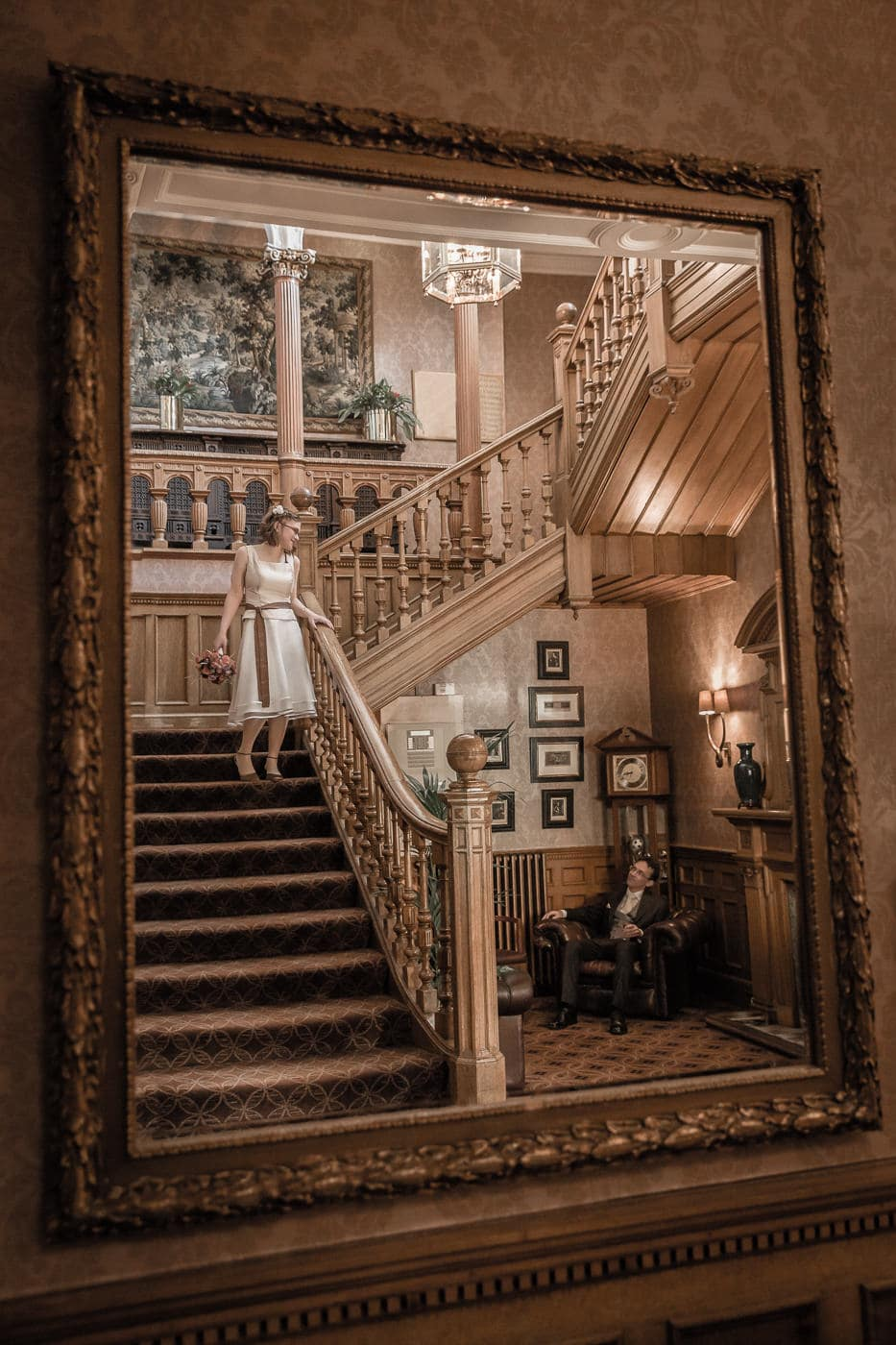 Bride & groom in Norton House staircase