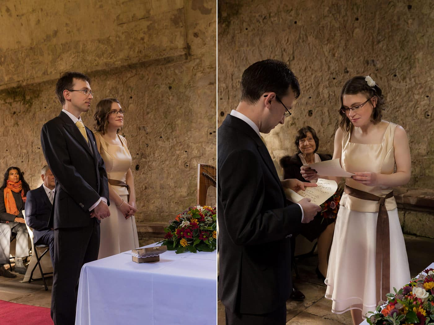 The bride's vows during the ceremony