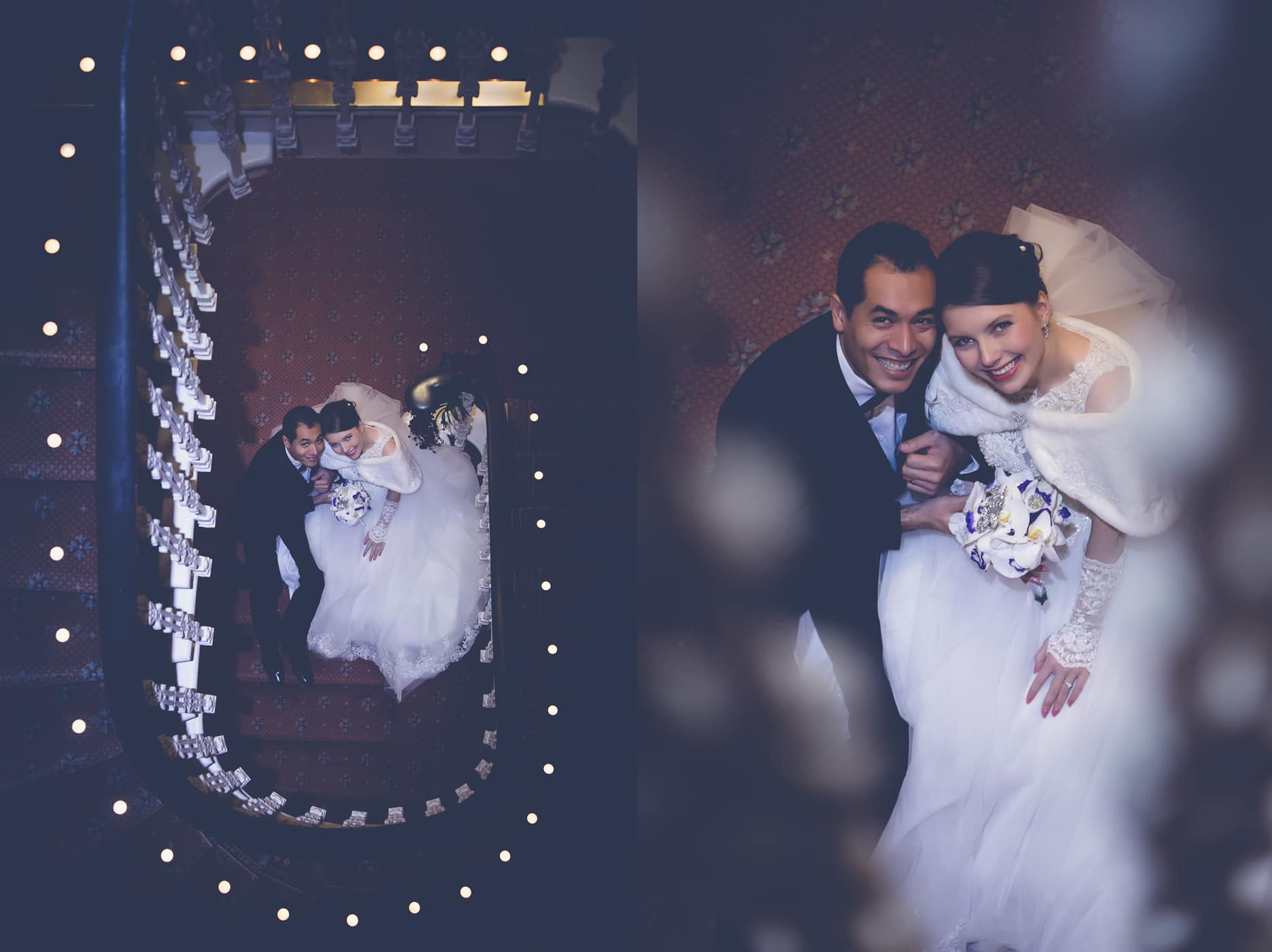 Artistic portrait of the bride and groom in the stair case