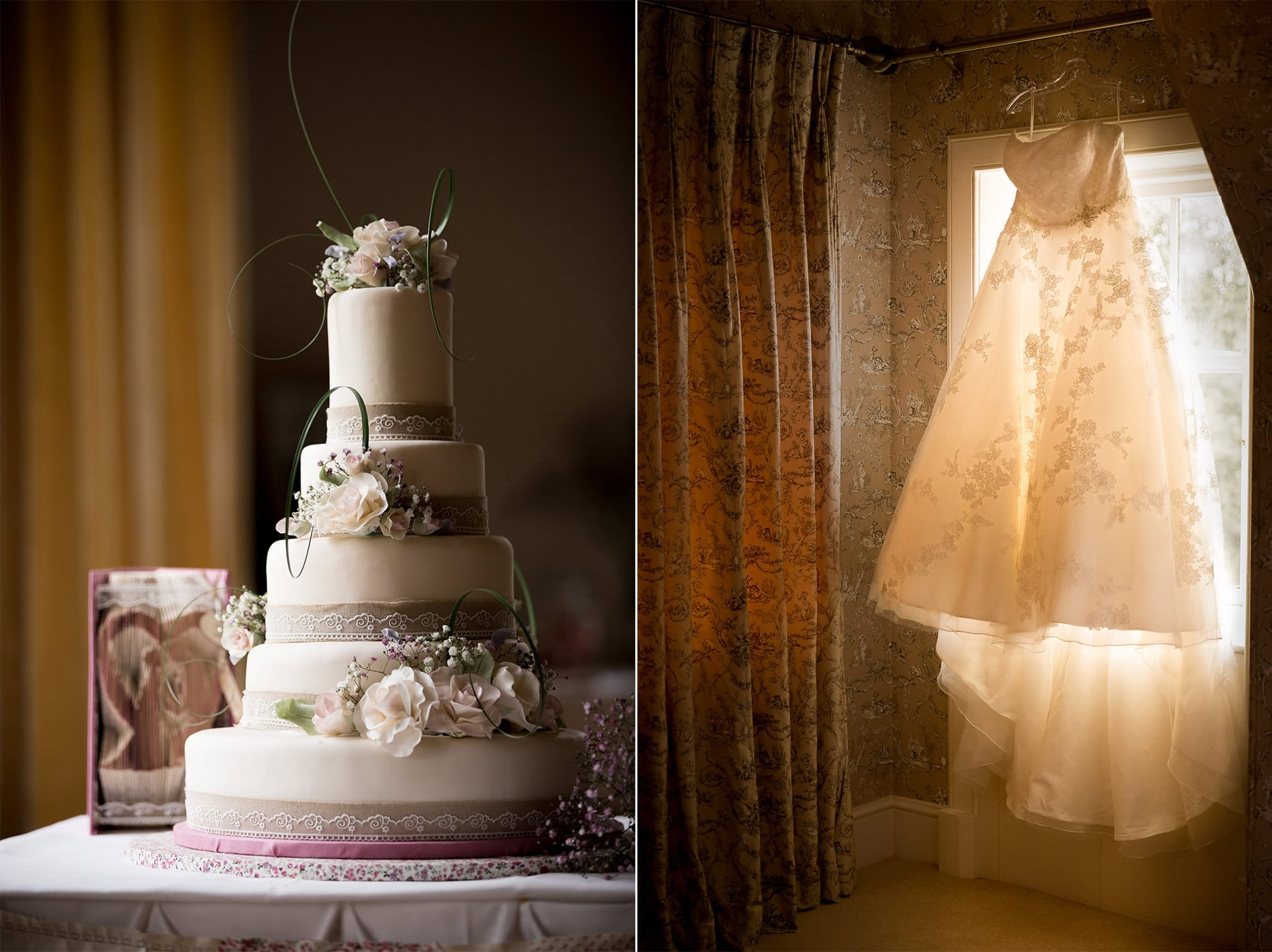 The wedding cake and bridal gown