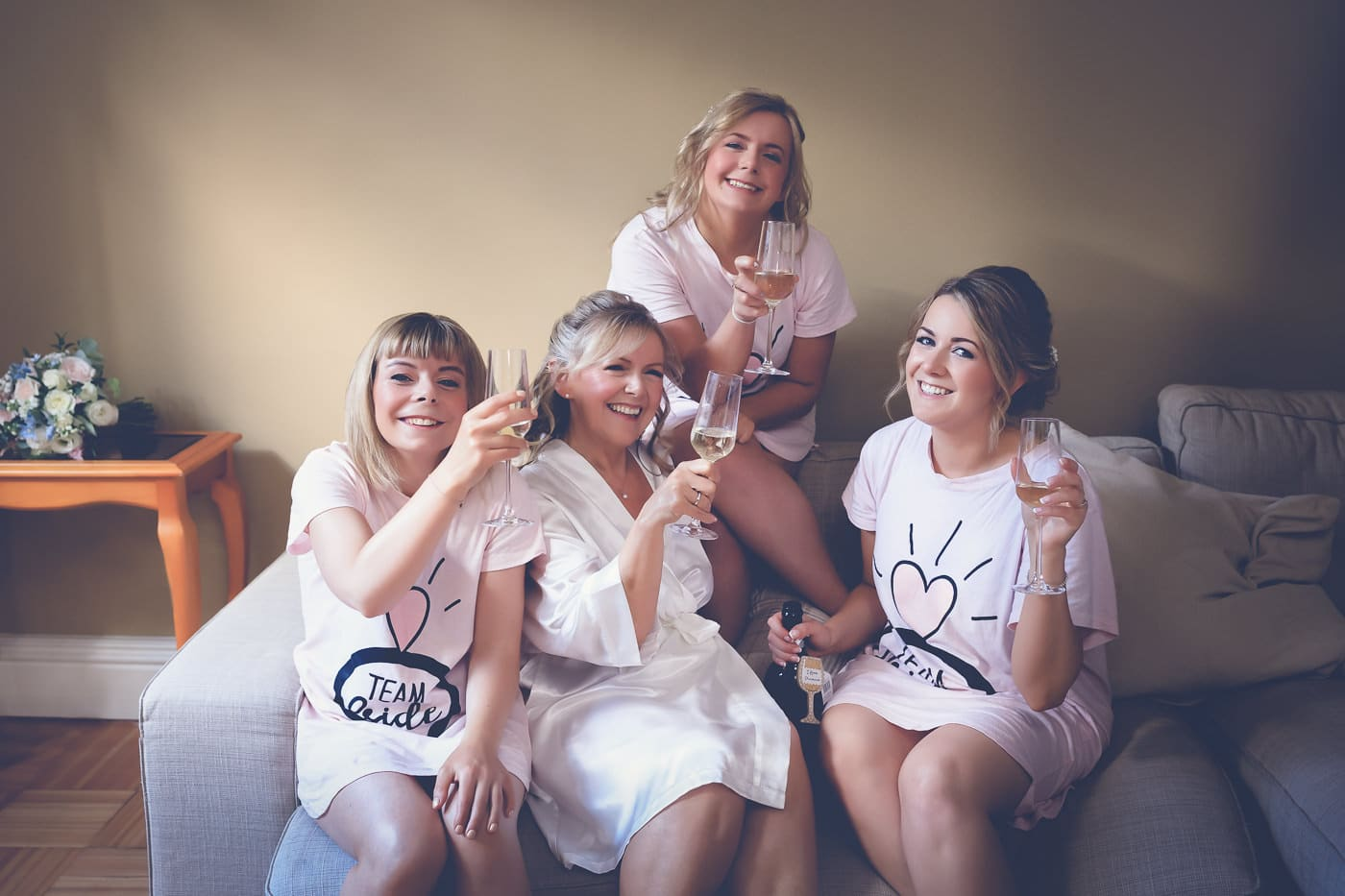 The bridal party during the preparations