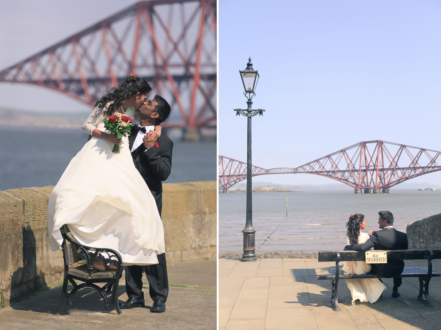 The bride and groom in front of the Forth Rail Bridge