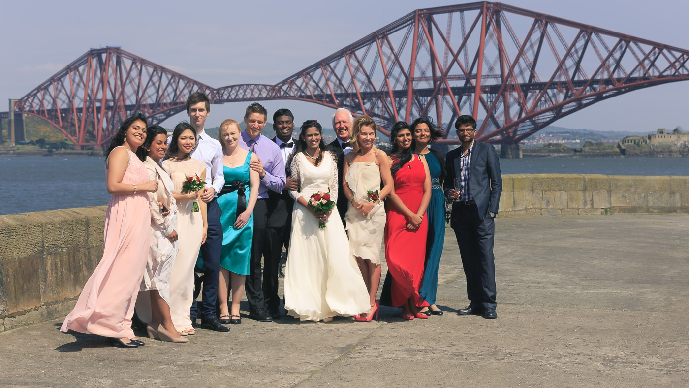 The bridal party in front of the Forth Rail Bridge