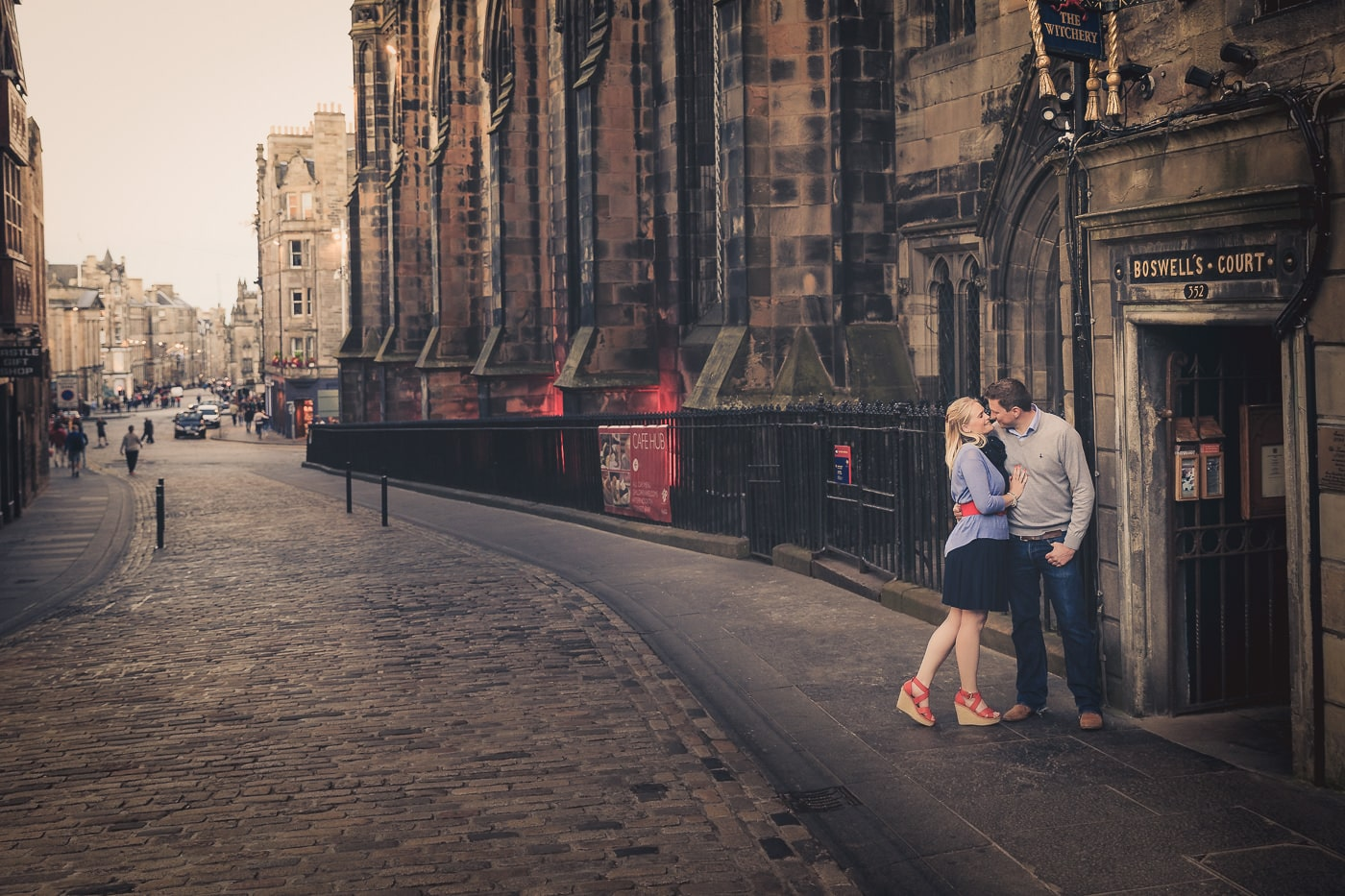 The lovebirds are on the royal mile in Edinburgh