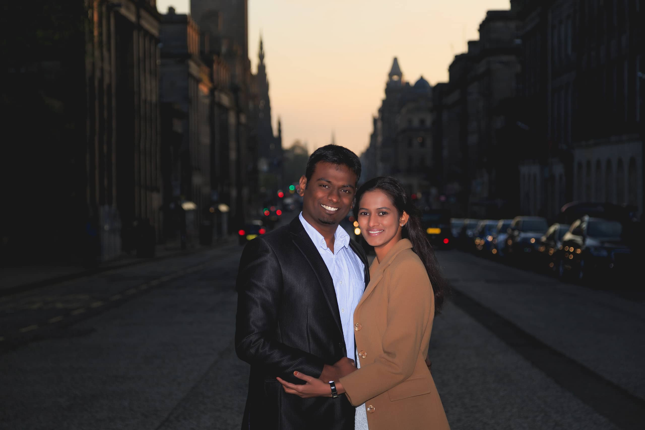 nice portrait of the couple on princess street Edinburgh