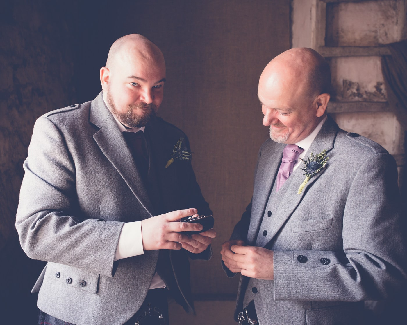 One of the most emotional moments of the day when the groom and his dad discover the very personal gift from the bride.