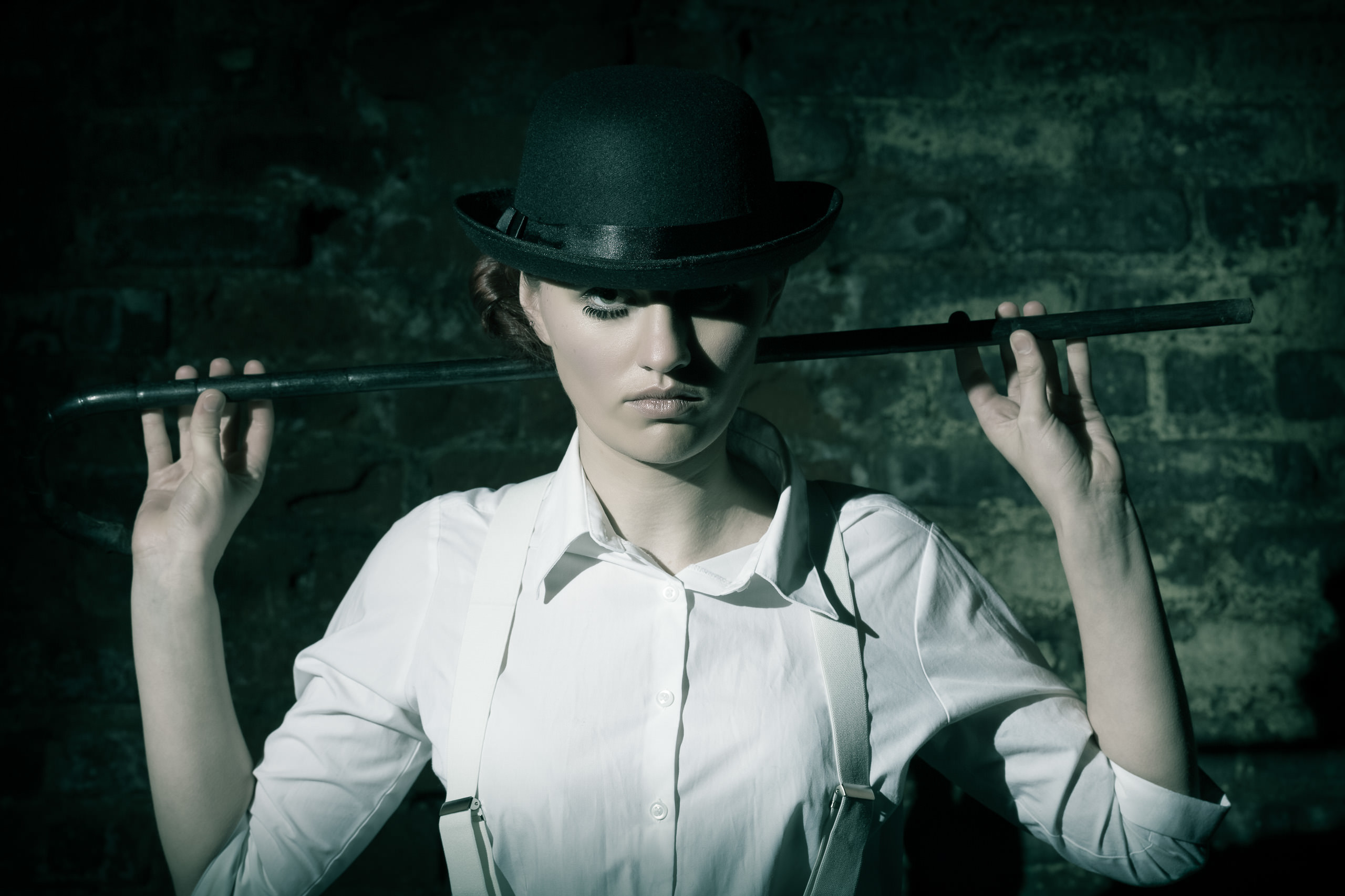 artistic portrait on the Clockwork Orange theme with a Scottish actress