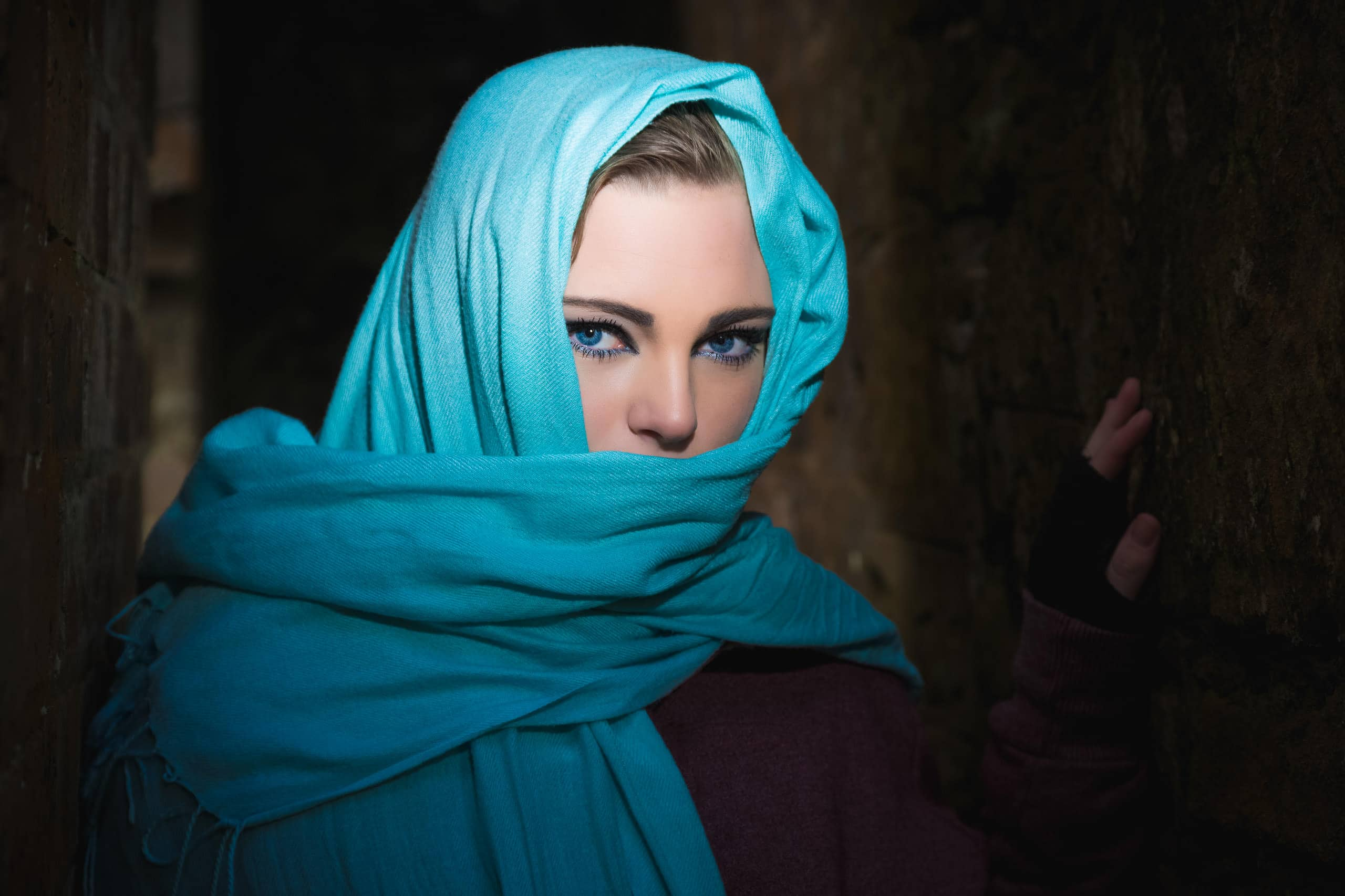 portrait of young scottish model megan wearing a veil
