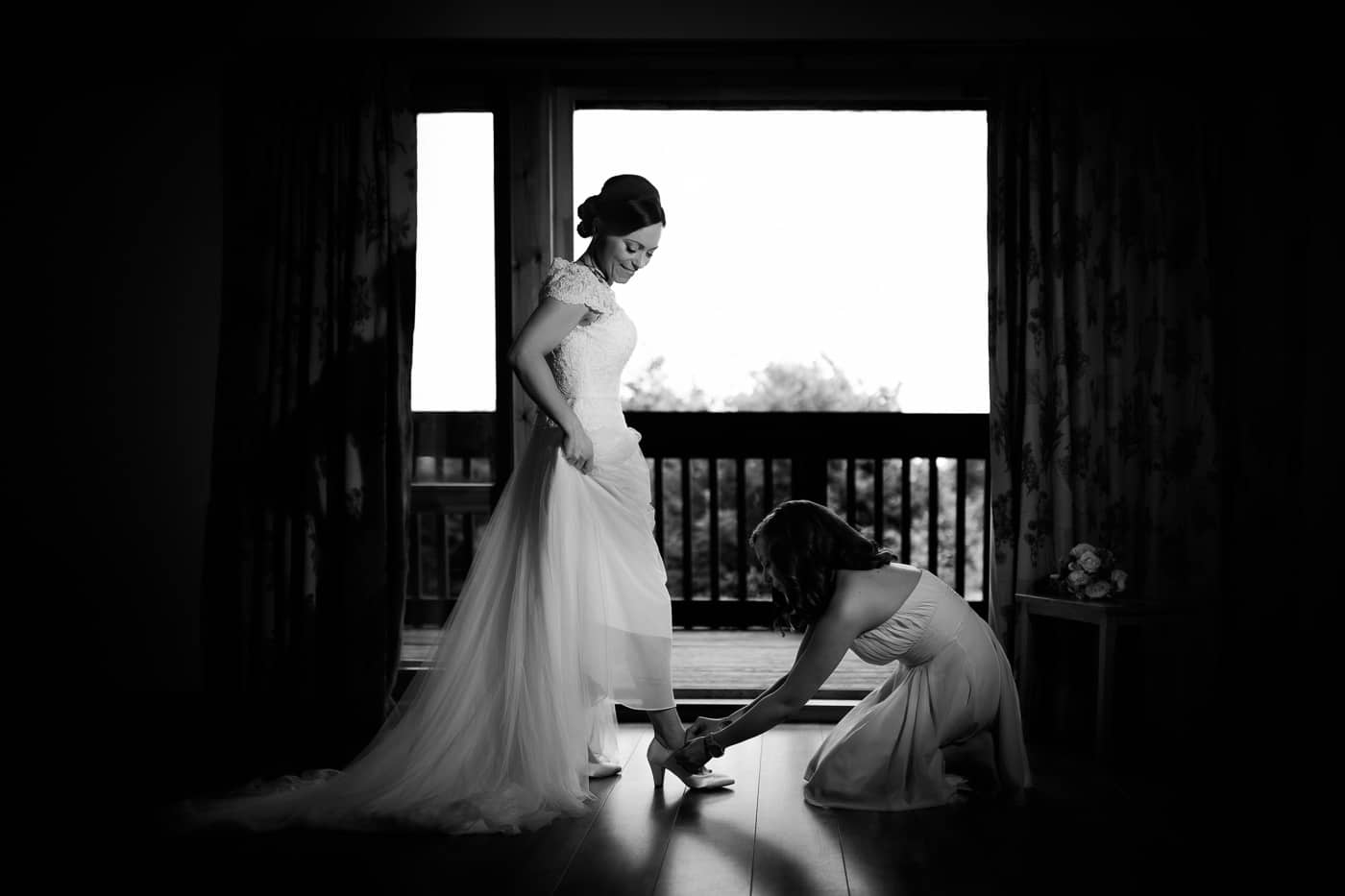 The bride getting ready at the Forbes of Kingenny near Dundee Scotland