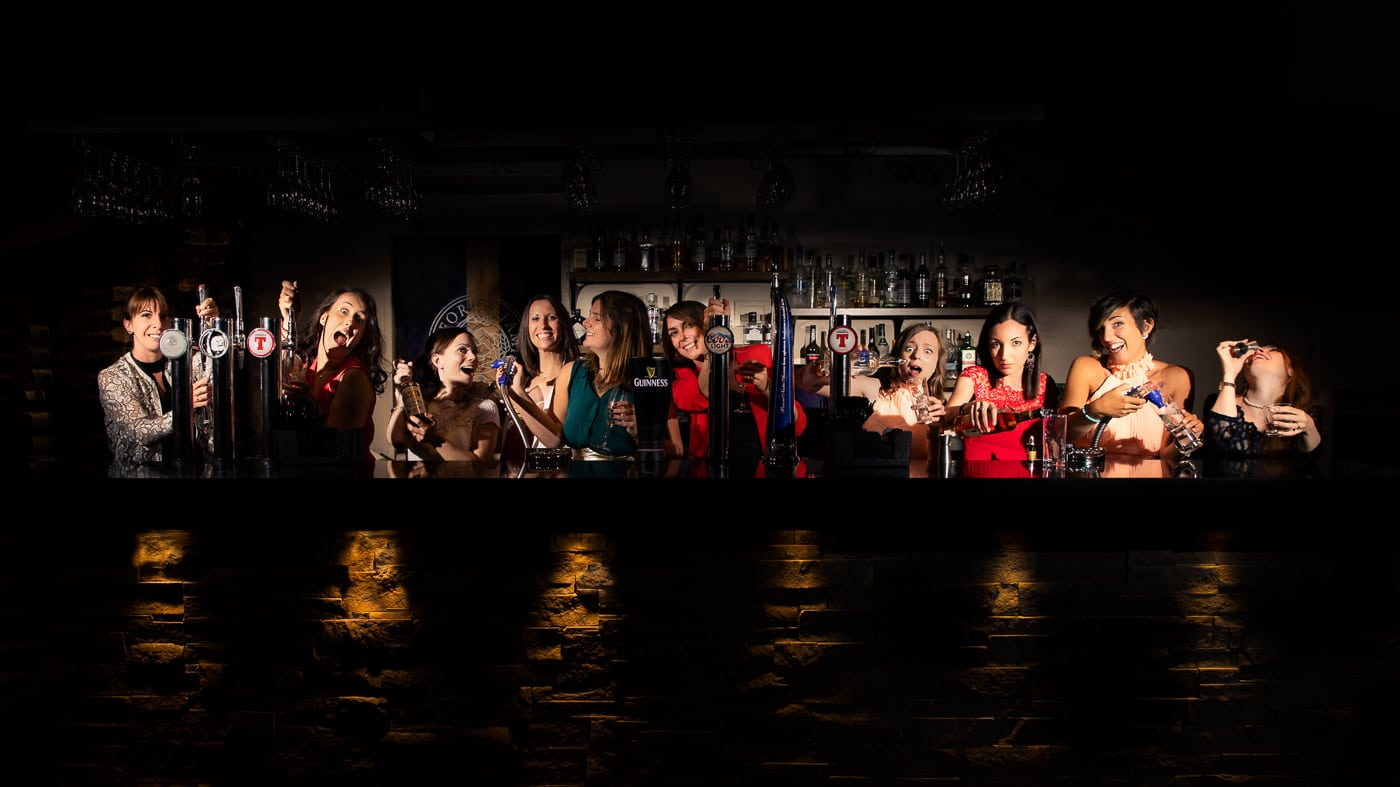The bride and her girlfriends take over the bar of the Forbes of Kingenny near Dundee Scotland